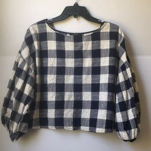 Forever 21 blue and white plaid crop top